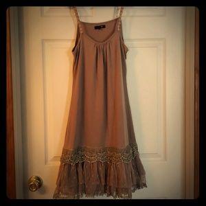 Light brown lace slip dress